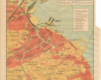 1952 Yokohama Japan Antique Map