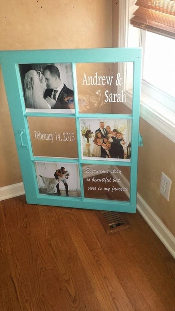 Distressed wedding wood window wedding decor personalized for Old wooden windows craft ideas