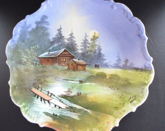 Limoges Porcelain Hand Painted Plaque Artist Signed Scenic Plate Cabin Wooded Lake Scene 1900s Antique French Rustic Home Decor