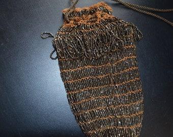 Antique Brown Handbag Purse Swag Beaded Shaggy Czechoslovakian Pouch Bag Art Deco 1920s Handmade Vintage Fashion