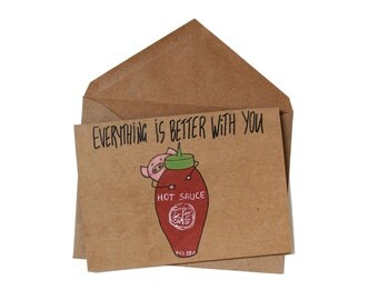 Valentines card hot sauce valentines card for him/ birthday card for boyfriend/ anniversary card wife/ funny valentines card