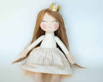 Princess doll, rag doll, cloth doll, dark blonde hair, golden crown, cream outfit, birthday gift, girl gift