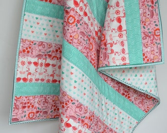 """Modern Baby Quilt, Pink Baby Quilt, Baby Girl Quilt, Green Baby Quilt, Jungle Baby Quilt, """"Pink Flamingo"""""""