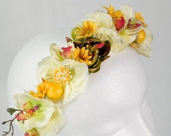 Yellow flower headband, Women headband, Ivory floral headband, Bridal headpiece, Wedding headpiece, Couronne de Fleurs, Uk sellers only