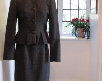 Camilla Milton British Designer Vintage Grey Wool Skirt Suit