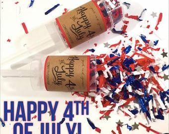 Set of 10- Happy 4th of July Confetti Push-Pops - Independence Day