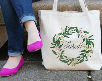 Personalized Tote Bag Floral Tote Bag  White Tote Bag Tote Bag Bridesmaid Tote Bag  Custom Tote bag Floral Wreath tote Bridesmaid gift