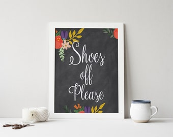 """PRINTABLE Art """"Shoes Off Please"""" Typography Art Print Floral Chalkboard Chalkboard Art Print Floral Art Print Floral Wall Art Home Decor"""