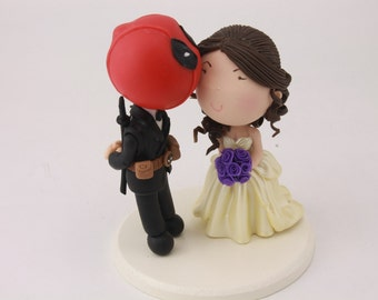 Deadpool Groom with pet. Wedding cake topper. Wedding figurine. Bride and Groom. Handmade. Fully customizable. Unique keepsake