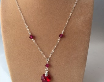Swarovski Heart Necklace, Crystal Necklace, Crystal Heart, Ruby Red Swarovski Crystal