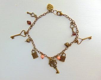 Bronze Charm Bracelet Key and Padlock With Czech Glass