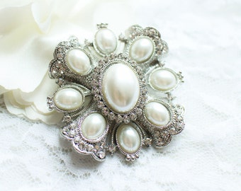 Large Rhinestone Pearl Flower Brooch Silver Base with PIN M44 - Wedding Brooch Bouquet/Wedding Cake Brooch/Craft Supply/Jewelry Accessories