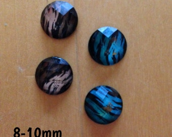 8mm-10mm brown and blue tiger print plugs for stretched ears