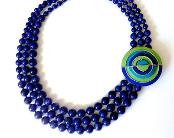 Funky necklace, Mid Century jewelry, jeans necklace, 60s retro hip, blue green necklace