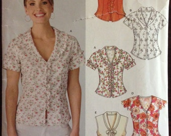 New Look 6387 - Soft Ruffled Blouse with Button and Loop Closure - Size 8 10 12 14 16 18
