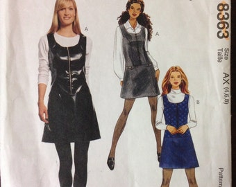 McCalls 8363 - Princess Seamed Jumper with Front Bodice Zipper - Size 4 6 8