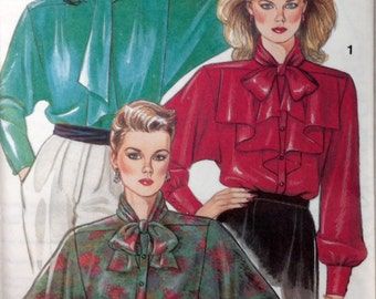 New Look 6634 - 1980s Career Blouse with Neck Bow Tie and Dolman Sleeves - Size 8 10 12 14 16 18