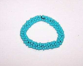 Turquoise Bracelet / Crotchet Rope Bracelet - Crotchet Rope Bead Bracelet - Turquoise Bead Bracelet - Thick - Stretch