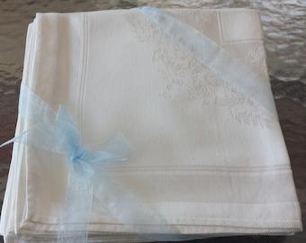 Vintage White Damsak Linen Embossed Dinner Napkins-8 Total  1970s D500
