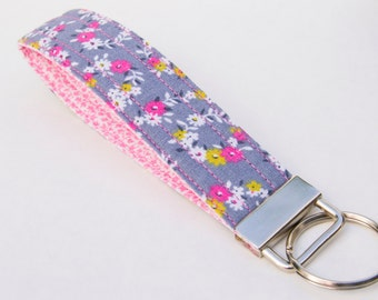 Vegan Key Fob, Key Chain, Gray and Pink Floral Vines and Flowers