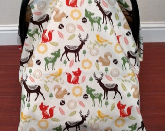 Woodland Animals Car Seat Canopy/Cover