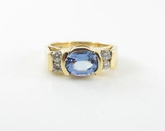 14K Yellow Gold Tanzanite And Diamond Ring Size 6