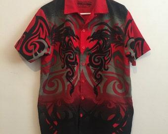 Red Tribal Club Button Shirt 90s Y2K