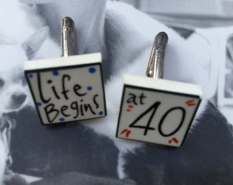 1990's Sonia Spencer 'Life begins at 40' Cuff Links.