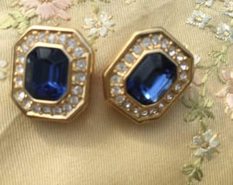 1970's Christian Dior earrings midnight blue stone surrounded by rhinestones.