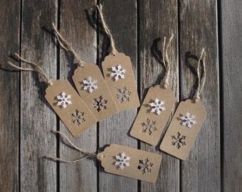 Gift Tag Set - Christmas gift tags, Snowflake tags, Present tags, Festive tag, Gift wrap, Gift wrapping, Snowflake, Rustic tag, Snowflake