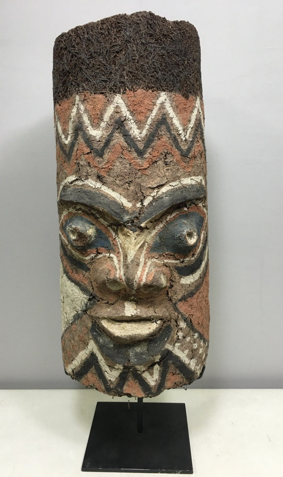 Mask Fern Clay Vanuata Ancestor Spirit Handmade Painted White Brown Clay Spirit Male Female Ancestor Ceremony One of a Kind Unique Statement