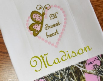 Burp Cloth, Pink Camo, Embroidered with Butterfly, Heart and Lil' Sweetheart, Personalization Available