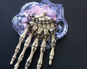 Glow Large Skeleton Hand Hair Clip & Pin Brooch