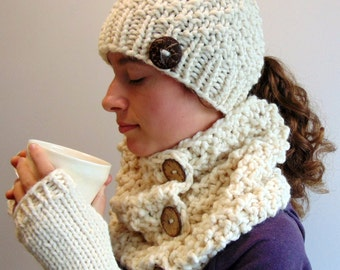 Knit Ponytail Hat, Cowl and Fingerless Gloves Set - Chunky Knit - Pony Tail Beanie Scarf Set - Made in Alaska - Gift for Her - Christmas