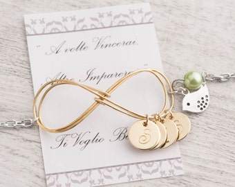 gold mom bracelet as initial mothers day bracelet as gold infinity mom gift -    mom 4 initial birthstone bracelet -