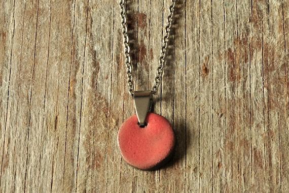 SMALL glossy coral round stoneware pendant