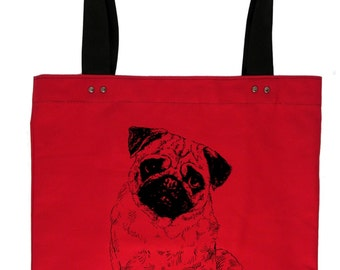 Pug - red hand screen printed cotton canvas tote bag