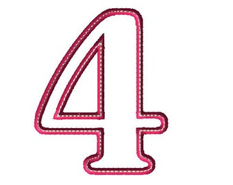 Applique 4 Number Design - Number Applique - Number Font - Birthday - Embroidery Number - Four