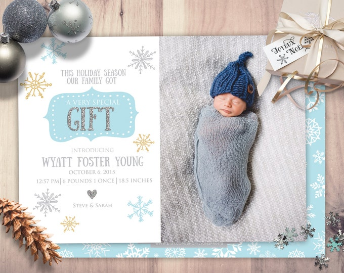 holiday baby, gift, birth announcement, baby, baby shower, new baby, baby announcement, holidays, greeting card, baby girl, baby boy,