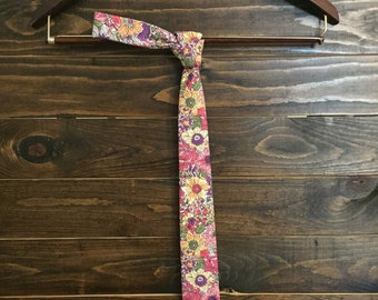 Men's Cotton Skinny Tie - Pink Floral Tie with Green, Yellow, Gray, Purple and Pink Floral Print