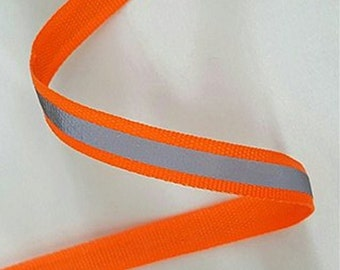 Orange Sew-On Tape Hi Visibility Silver Reflective Strips Hi Vis Safety 15mm Wide By Metre Lengths