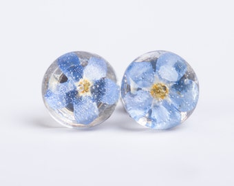 VERGISSMEINNICHT - Stud Earrings with real blossoms of Forget-me-not, Flower Jewelry, Real Dried Flowers Encased in Resin, Resin Jewelry