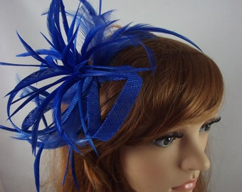 Royal Cobalt Blue Feather Spray Sinamay Comb Fascinator - Occasion Wedding Races