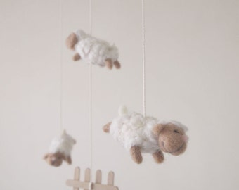 Nursery mobile - felted sheep mobile - baby crib mobile - nursery decor - counting sheep