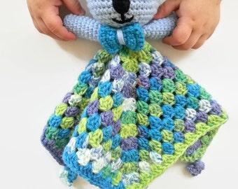 Blue baby security blanket, crochet snuggle blanket, baby boy nursery, teddy bear baby shower, crochet baby lovey, baby boy gift