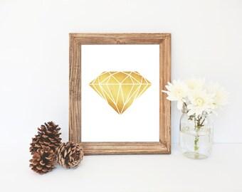 Gold Diamond Art, Gold Fashion Decor, Gold Glitter Print, Printable Art, Gold Wall Prints, Gold Home Decor, Fashion Wall Art, Hair Salon Art