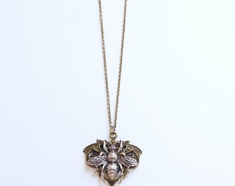 Brass and silver tone Insect Steampunk pendant necklace