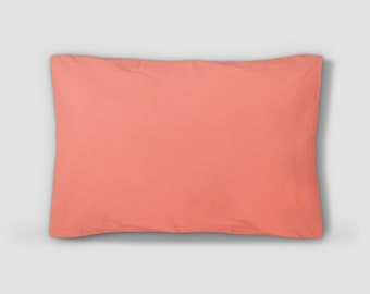 Coral Pillow Sham, Pink Pillow Cover, Standard Size Shams, King Size Sham, Coral Pillowcase, Coral Bed Clothes, Solid Color Sham