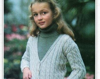 "childs childrens aran cardigan knitting pattern PDF cable jacket v neck 24-33"" DK light worsted 8 ply pdf instant download"