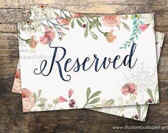 Reserved sign printable, wedding reserved sign, floral reserved printable, rustic reserved sign, floral reserved printable,INSTANT DOWNLOAD